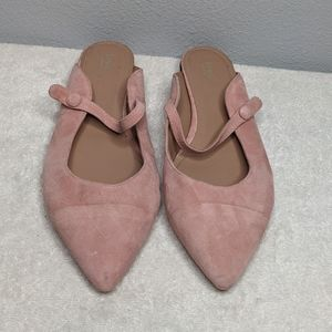 Lewit Suede Blush Pink Pointed Toe Mules 39.5/9.5